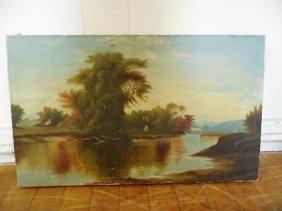 O/c Landscape W/tree On River