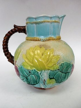 Large Majolica Pitcher W/lilly Pads
