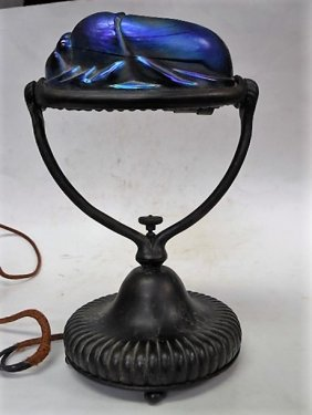 Tiffany Studios Favrile Glass Bronze Scarab Lamp