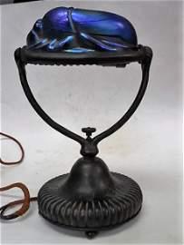 Tiffany Studios Favrile Glass Bronze Scarab Lamp