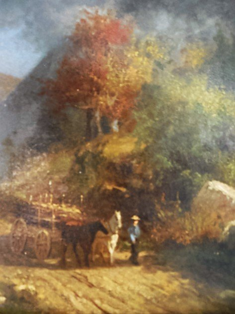 Oil/Canvas Man & Horse in Landscape - 2