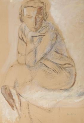 Leopold Gottlieb (1879 - 1934) Seated Girl; charcoal