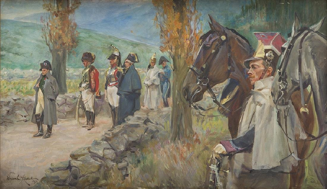 Wojciech Kossak  (1856 - 1942) Napoleon at Somosierra,