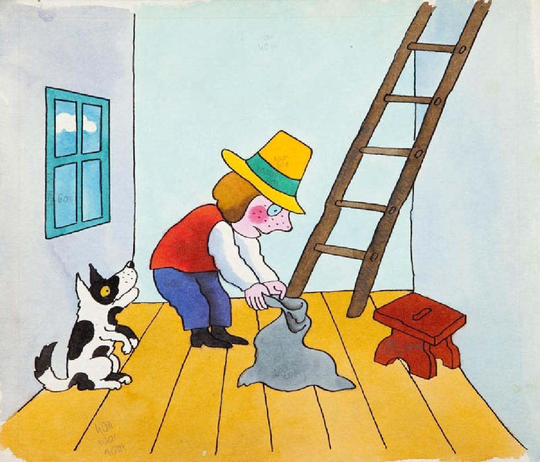 """Jerzy Flisak (1930 - 2008) """"Idzie Grzes"""", illustration"""