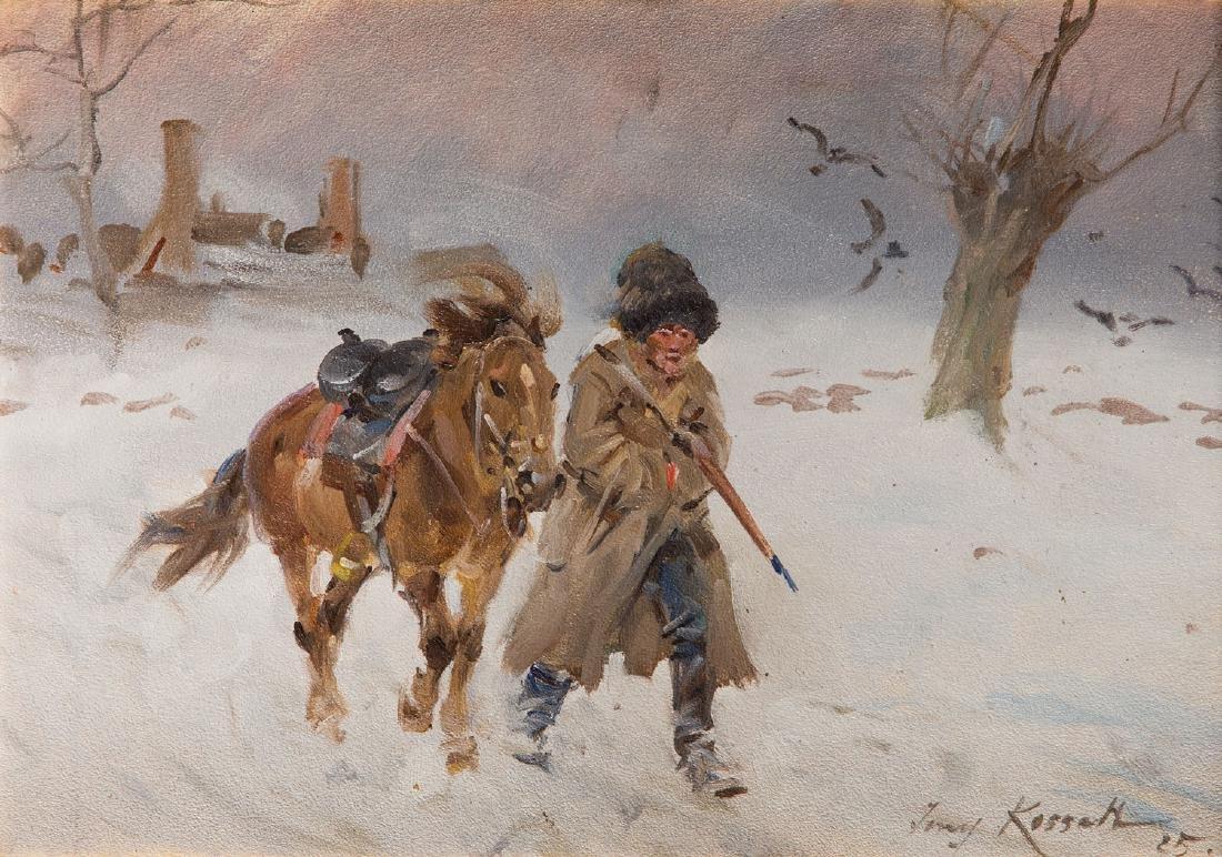 Jerzy Kossak (1886 - 1955) Return from Moscow, 1925;