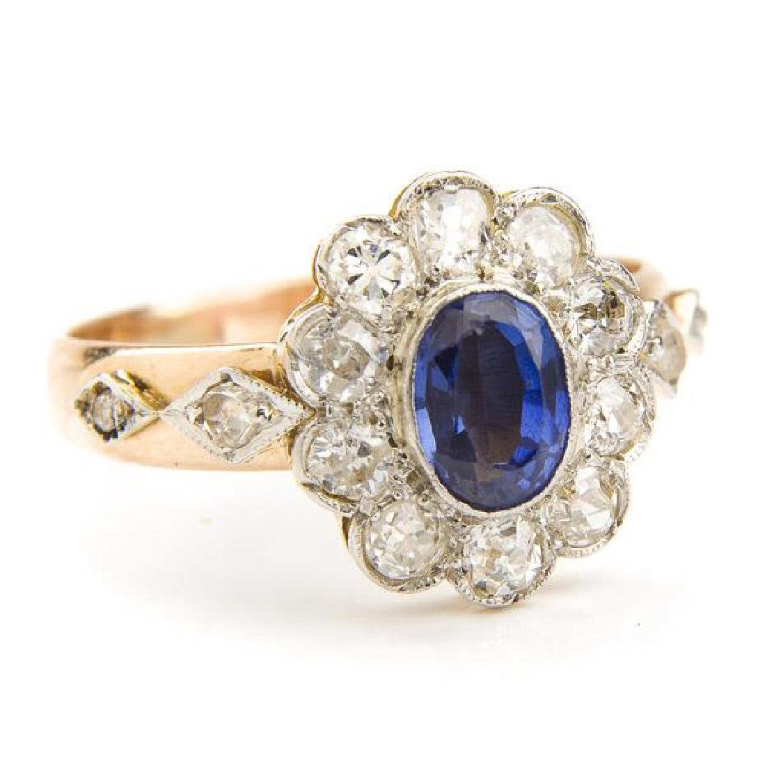 Ring with sapphire and diamonds, 1st Half of 20th