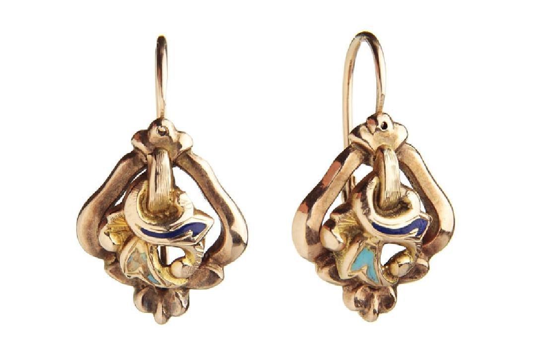 Pair of earrings in Biedermeier style, 2nd Half of 19th