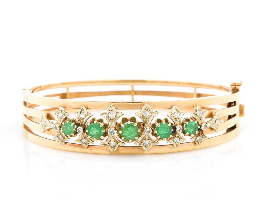 Bracelet decorated with emeralds, France, 1950s