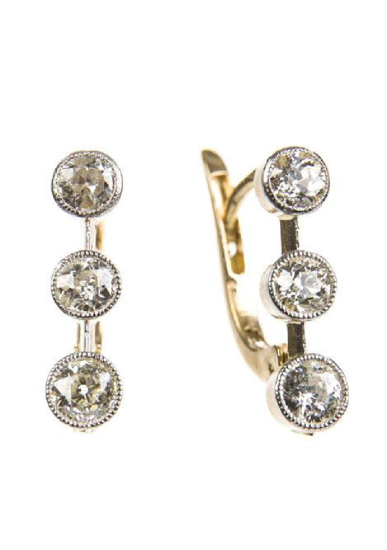 Pair of earrings with diamonds, France, 2nd Half of