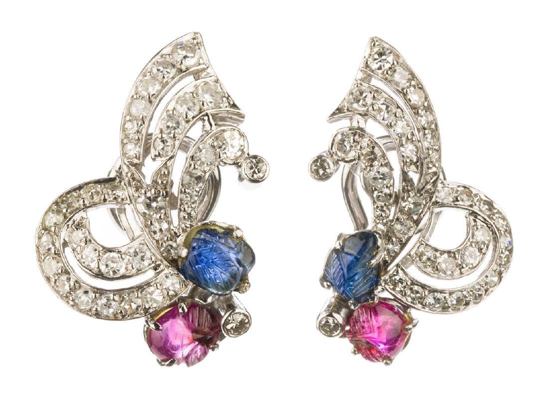 Tutti Frutti pair of earrings, 1950s