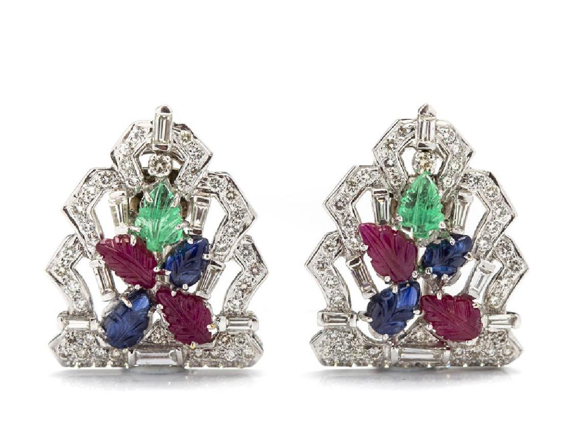 Double brooch-clips in the Cartier type, Western