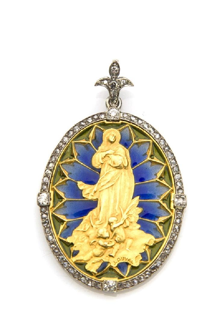 Pendant with image of Madonna among angels; Julien