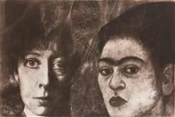 """Krystyna Piotrowska (b. 1949) """"Self-portrait with"""