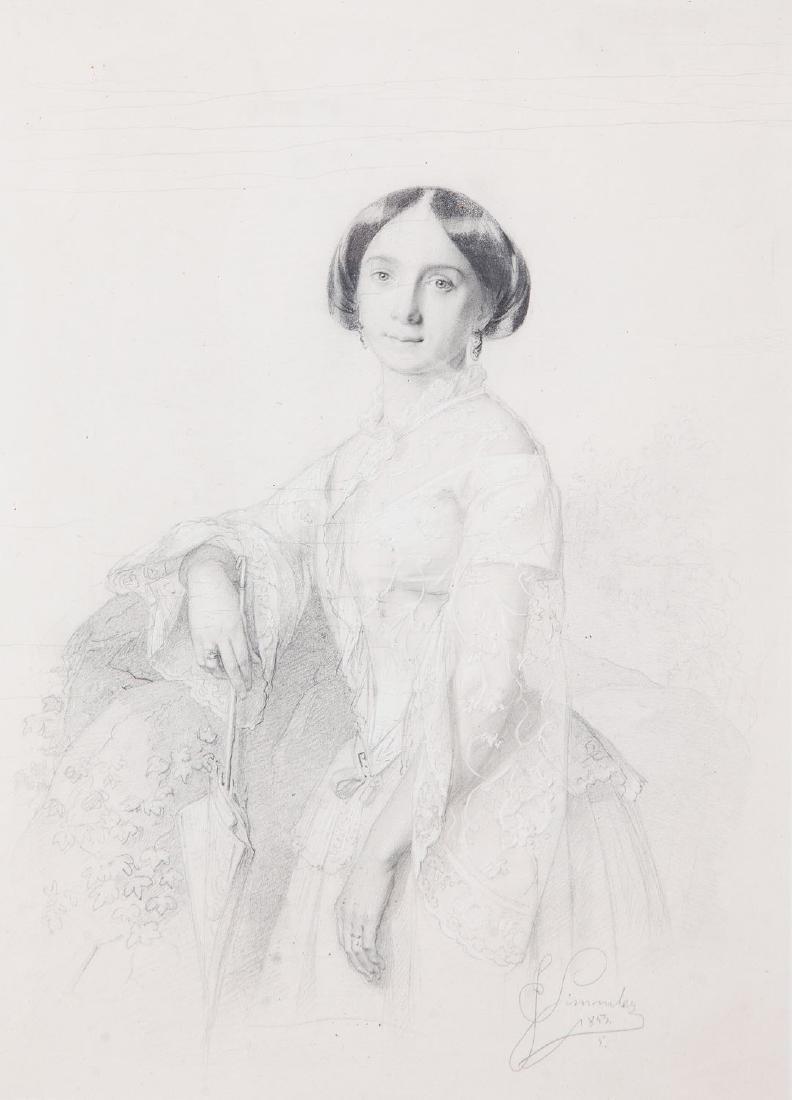 Jozef Simmler (1823 - 1868) Portrait of lady with