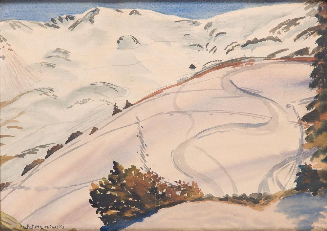 """Rafal Malczewski (1892 - 1965) """"Slad narciarski"""" (""""Ski"""