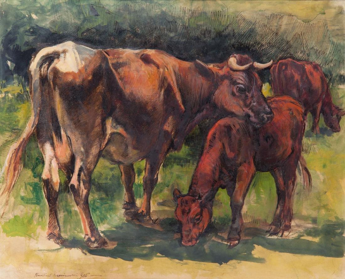 Stanislaw Karniewski (1901 - 1948) Cows on the meadow,