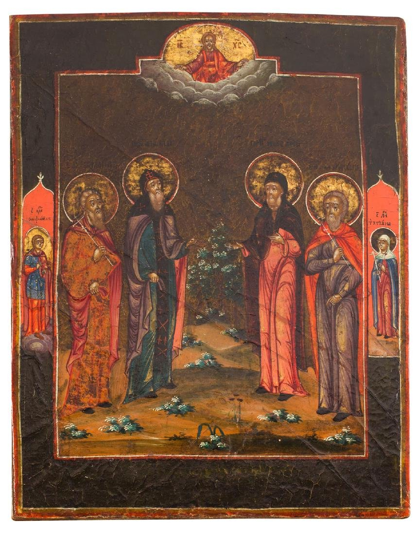 Icon with four Saints, First half 19th Century