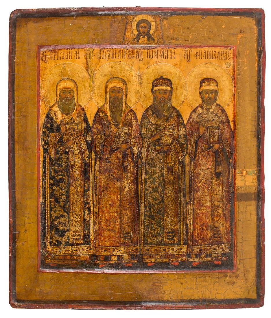 Icon with four Saints, First half 18th Century