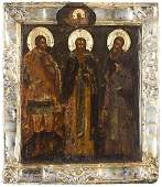 Icon with three Saints, 1767, Petersburg