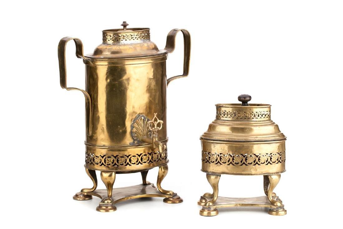 A coffee samovar and hand warmer, circa 1850