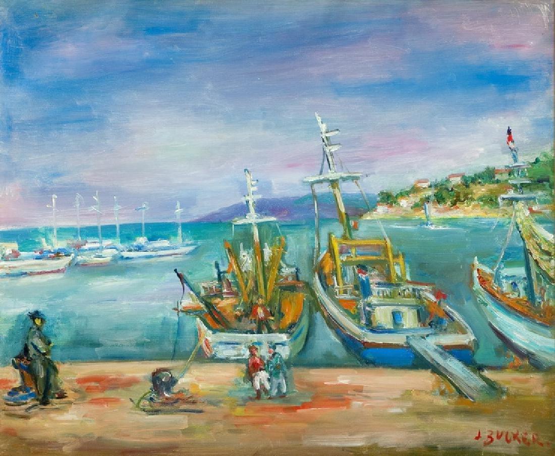 Jakub Zucker (1900 - 1981) 'Boats in the harbour of San