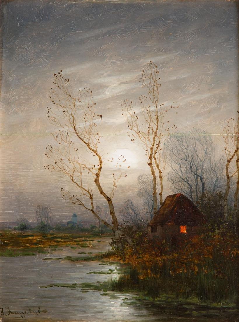 Johann Jungblut (1860 - 1912) Nocturne with a hut