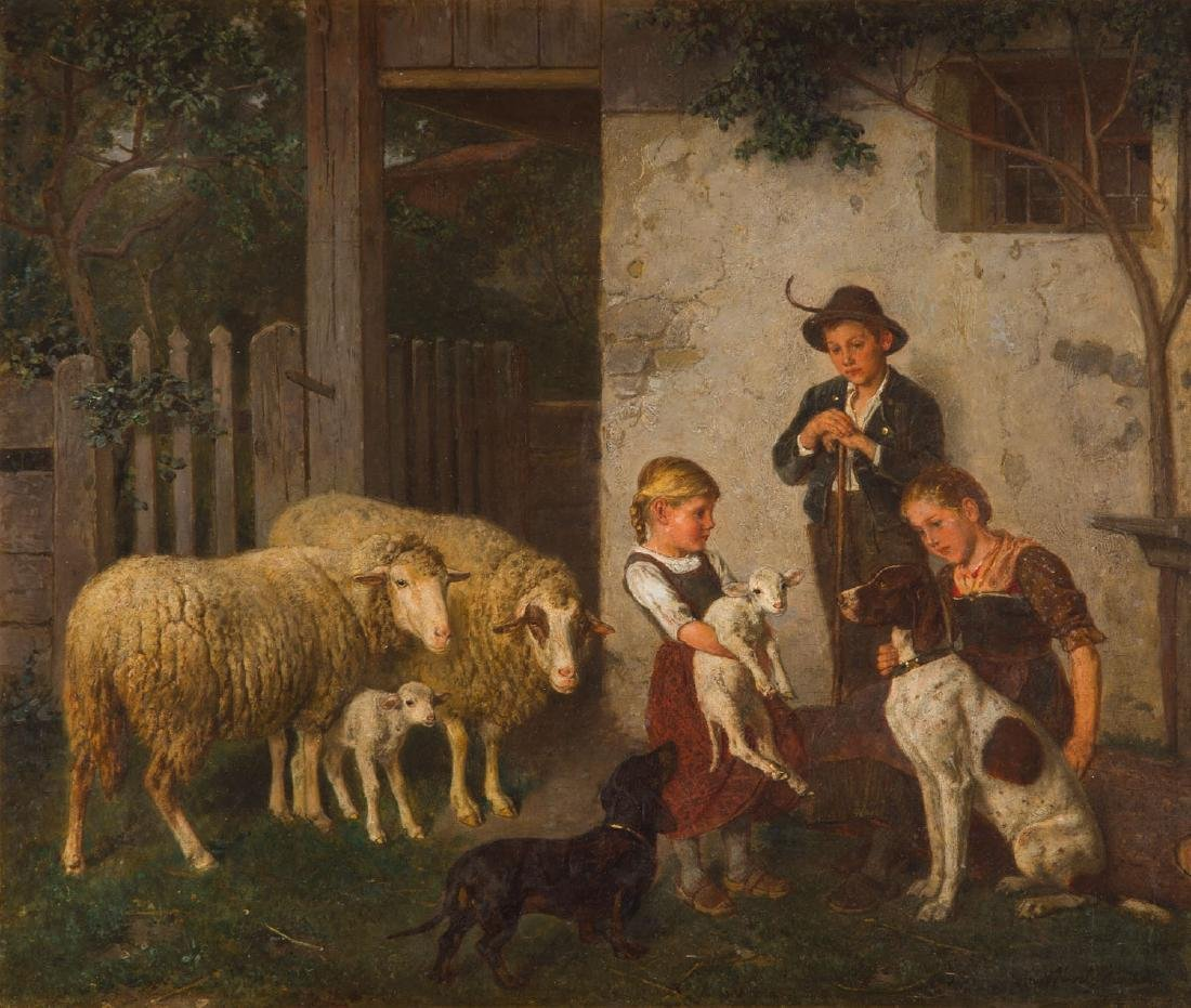 Adolf Eberle (1843 - 1914) Children with rams and dogs