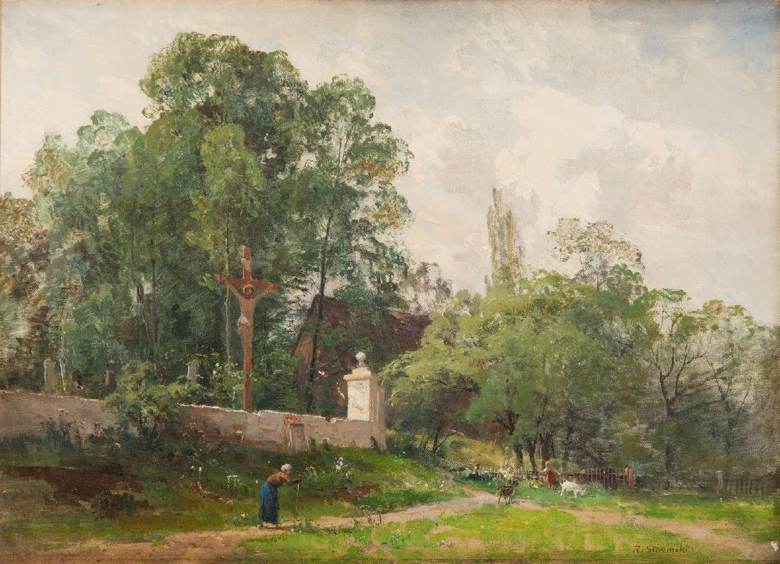 Robert Sliwinski (1840 - 1902) Landscape with a local