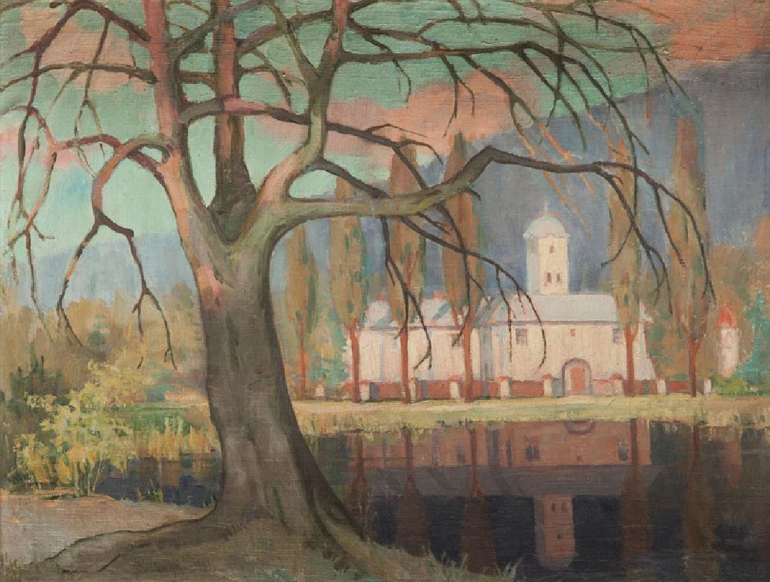 Boleslaw Dybczynski (1887 - ?) Tree by a pond, 1931
