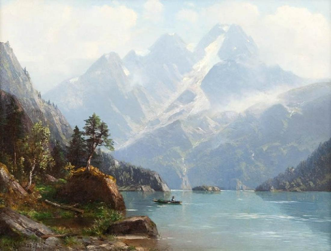 Carl Schultze (1856 - 1926) Alpine landscape with a