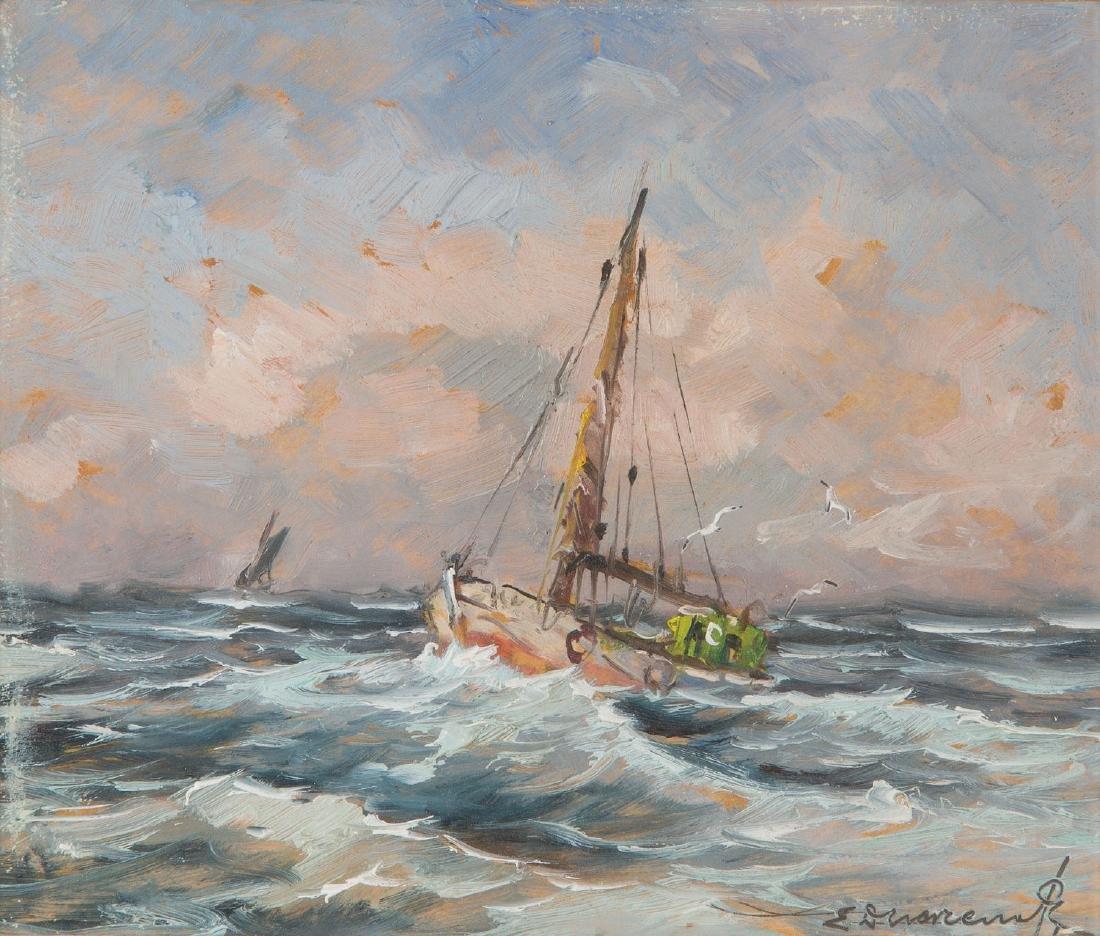 Eugeniusz Dzierzencki (1905 - 1990) Boats on the sea
