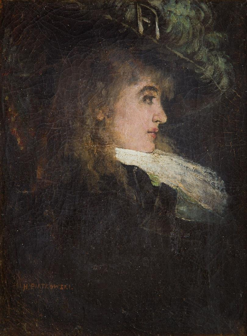 Henryk Piatkowski (1853 - 1932) Portrait of a lady in a