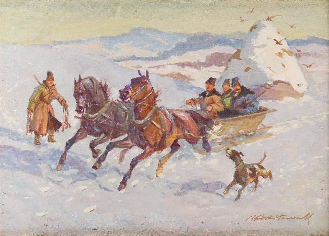 Roman Antoni Breitenwald (1911 - 1985) Hunting scene