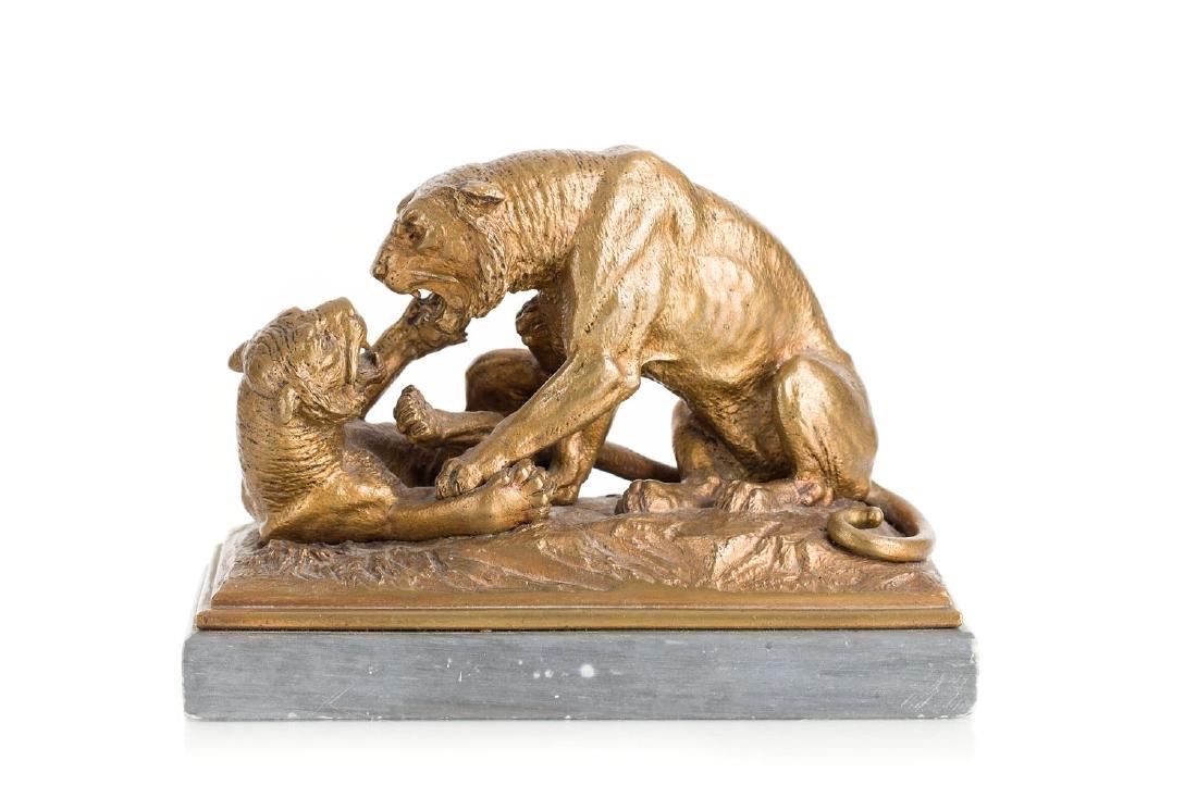 Otto Rasmussen (1845 - ?) Fighting lions, 1888