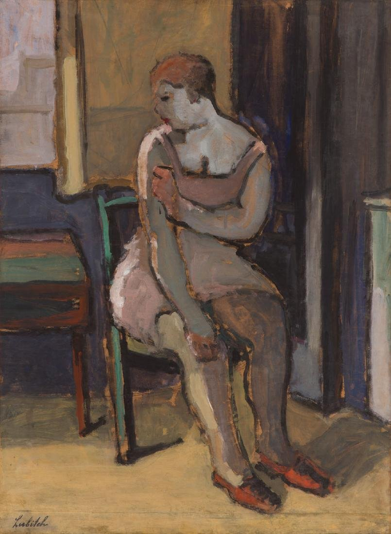 Ossip Lubitch (1896 - 1990) Seated woman in interior