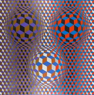 "Victor Vasarely (1906 - 1997) ""Nebulus"", 1978"