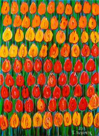 Edward Dwurnik, (1943 - 2018), 'Orange tulips', 2018,