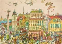Edward Dwurnik, (1943 - 2018), Castle Square, circa