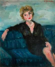 Jakub Zucker (1900 - 1981), Portrait of Woman in Black