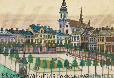 Nikifor Krynicki (1895 - 1968), View of the square,