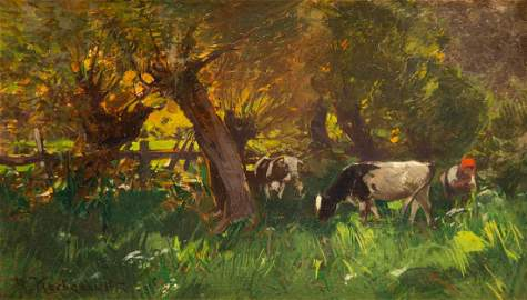 Roman Kazimierz Kochanowski (1857 - 1945), In orchard,