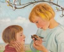 Wlastimil Hofman (1881 - 1970), Children with a bird in