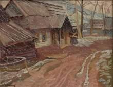 Stanislaw Kamocki,'Falling snow', 1937, oil/plywood,