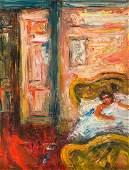 """Jakub Zucker (1900 - 1981), """"In bed"""", oil/paperboard,"""