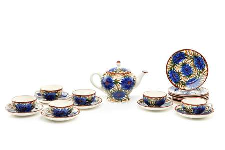 A Tea Set, 1920s-1930s, faience painted underglaze, a