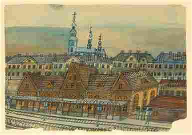 Nikifor Krynicki (1895 - 1968) Landscape with a railway