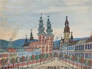 Nikifor Krynicki (1895 - 1968) Street in the city, lata
