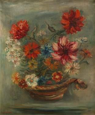 """Jakub Zucker (1900 - 1981), """"Flowers in a basket"""","""