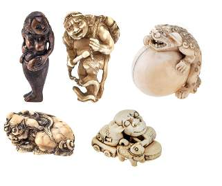 Set of five netsuke