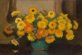 Alfons Karpinski (1875 - 1961) Zinnias in a vase, 1940